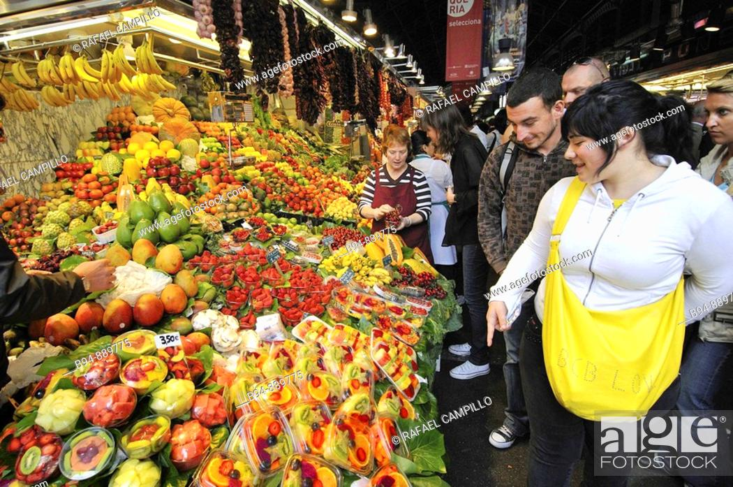 Stock Photo: La Boqueria market, Barcelona. Catalonia, Spain.