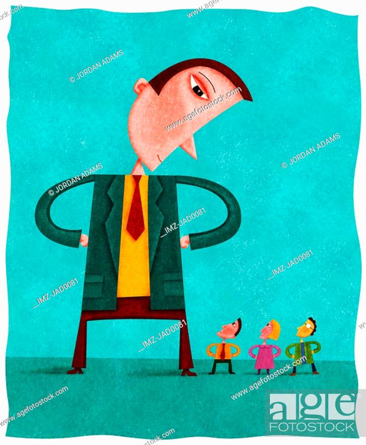 Stock Photo: A giant businessman looking down on three small people.