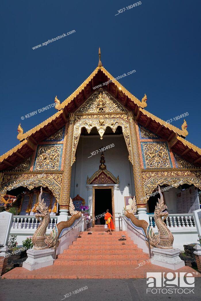 Stock Photo: Wihaan Luang Building, Wat Phra Singh, Chiang Mai, Thailand.