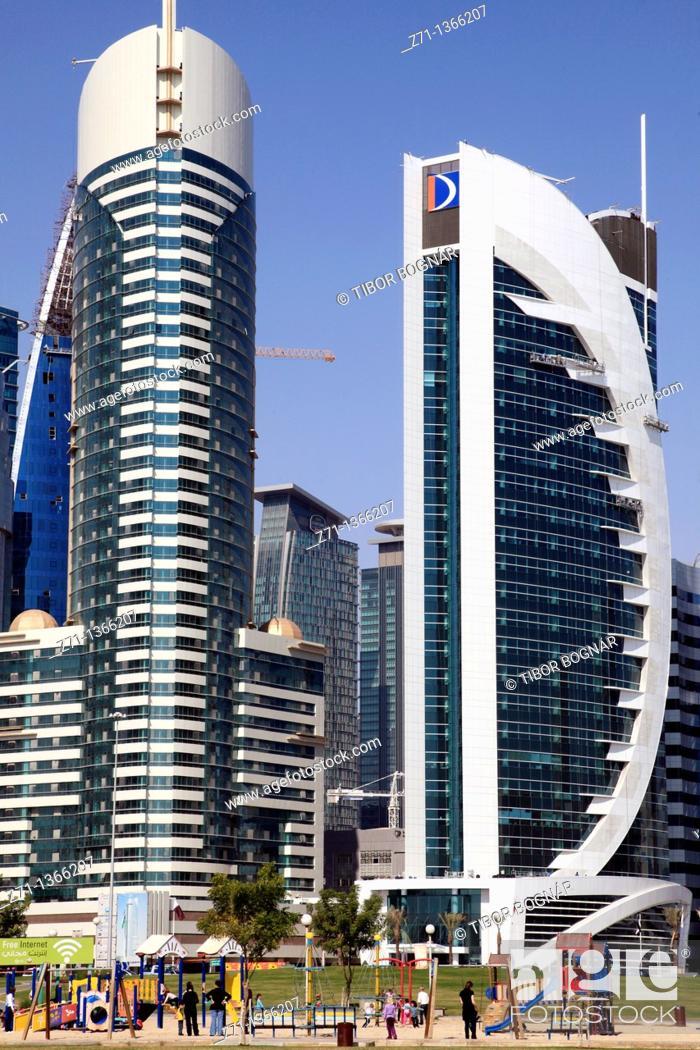 Stock Photo: Qatar, Doha, Al Corniche Street, modern architecture, playground,.