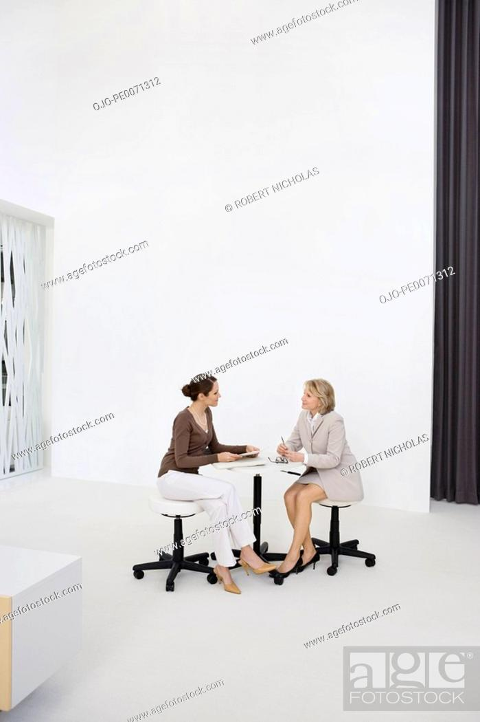 Stock Photo: Businesswomen working at table in office.