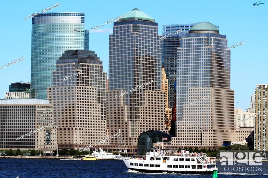 Stock Photo: The World Financial Center with the Goldman Sachs building on the left rear Lower Manhattan, New York City, New York, USA Viewed from Liberty State Park.
