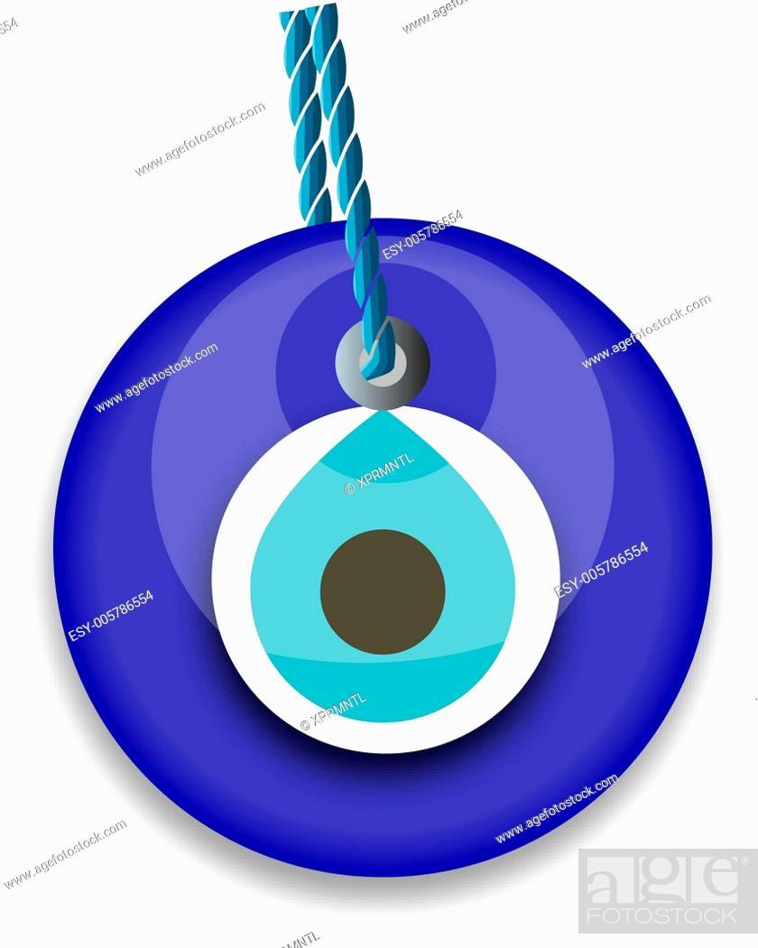 Stock Vector: blue bead, worn to avert the evil eye.