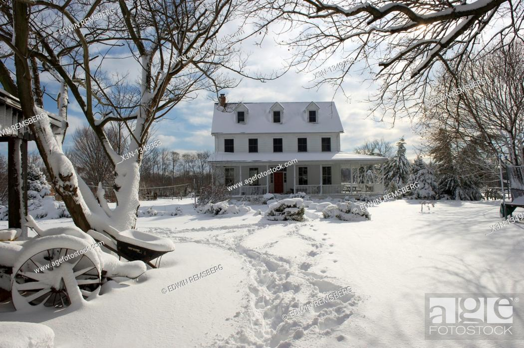 Stock Photo: Snow covered farmhouse - Fallston Maryland USA.