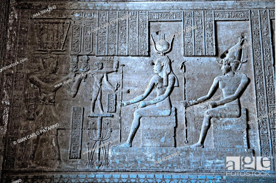 Stock Photo: Dendera Egypt, ptolemaic temple dedicated to the goddess Hathor. Carvings on hypostyle hall.
