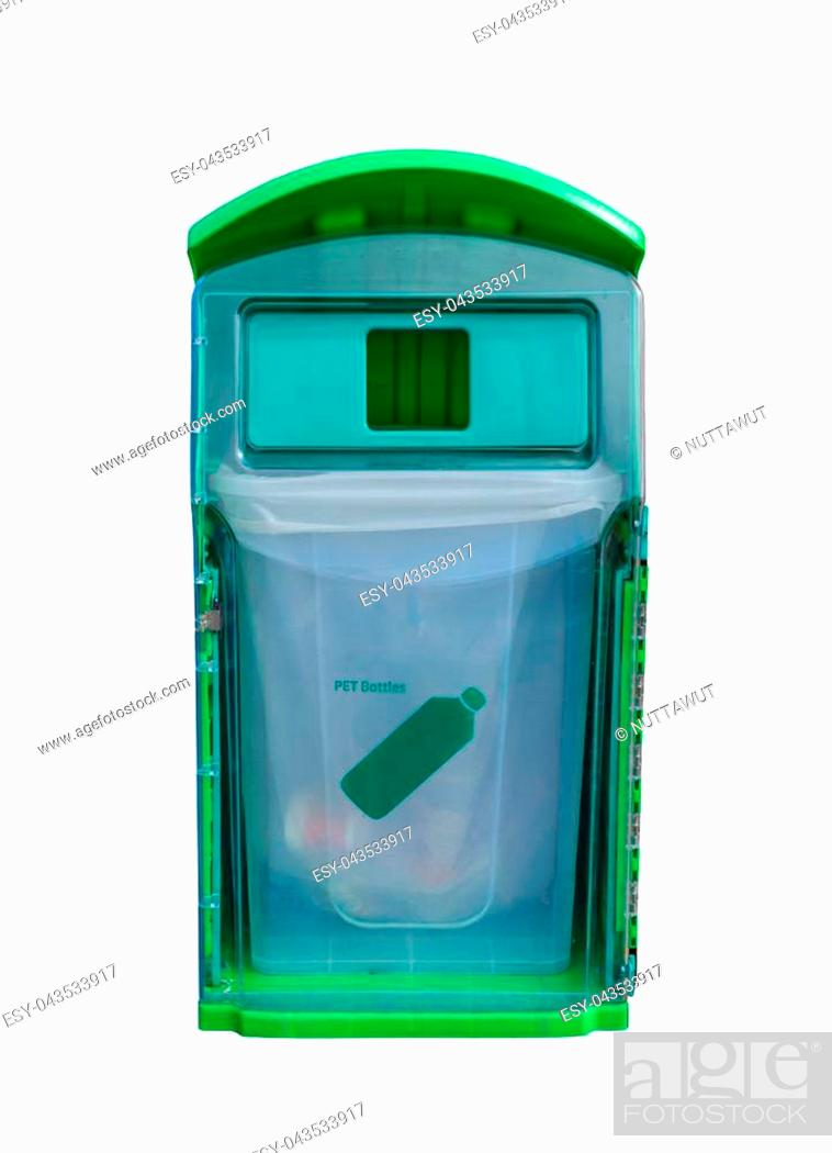 Stock Photo: Green recycle bin for PET bottles isolated on white background. Waste management concept.