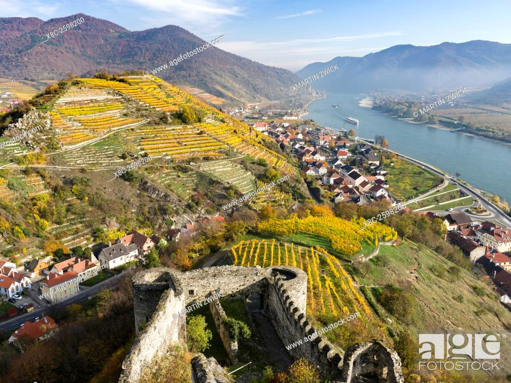 Stock Photo: Castle ruin Hinterhaus in the village Spitz in the Wachau. The Wachau is a famous vineyard and listed as Wachau Cultural Landscape as UNESCO World Heritage.