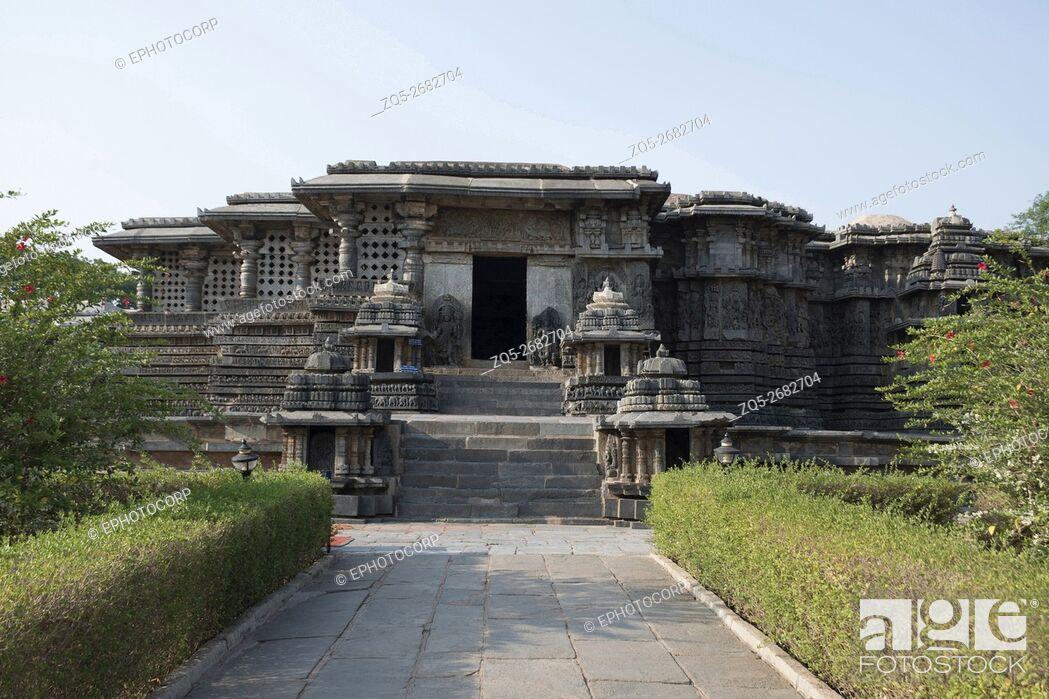 Stock Photo: Frontal view of the Hoysaleshvara Temple, Halebid, Karnataka, india. View from the North.