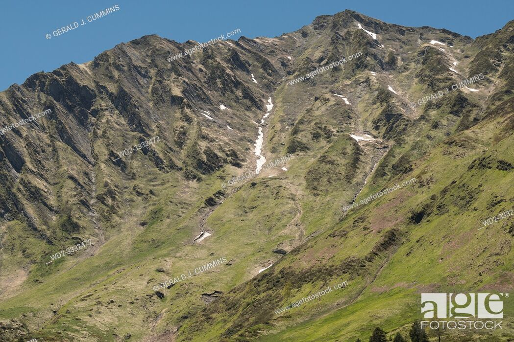 Stock Photo: Europe, France, Hautes-Pyrénées , 06-2019, The Western Pyrenees National Park covers a significant area, including well-known attractions such as the Cirque de.