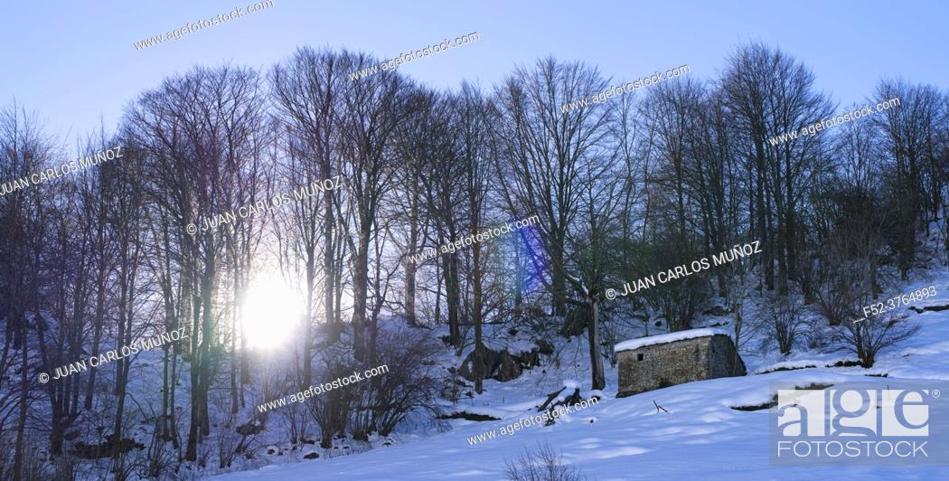 Stock Photo: Snowy landscape in winter in the Valle del Miera in the Valles Pasiegos de Cantabria. Spain. Europe.