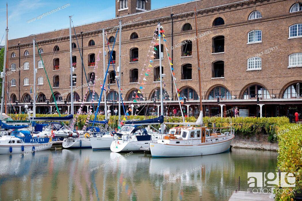 Stock Photo: England. London. St. Katharine Docks and Ivory House.