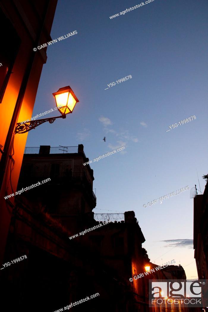 Stock Photo: street at night in rome italy.