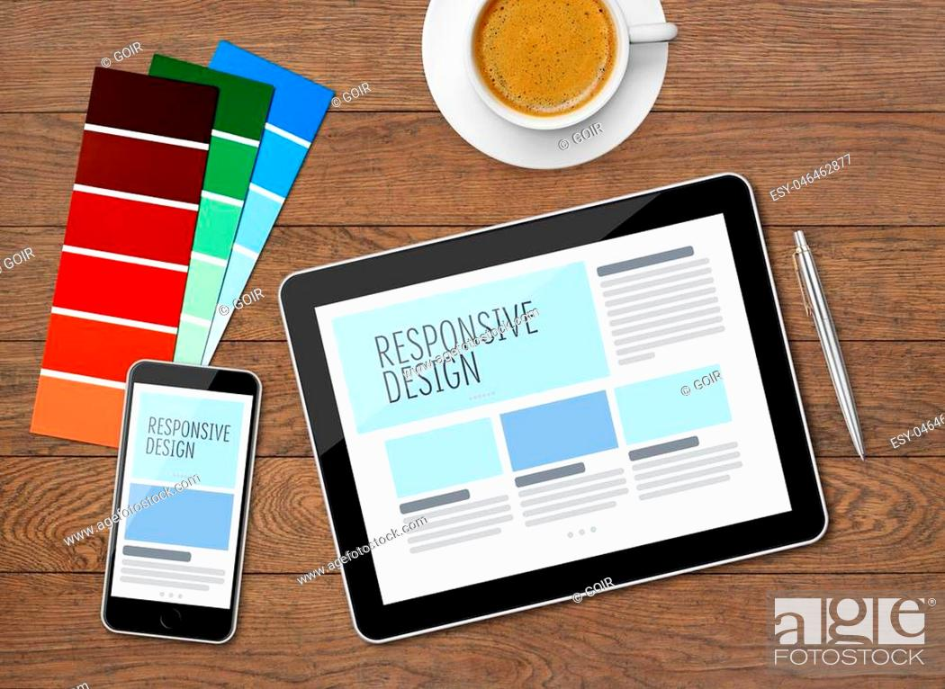 Stock Photo: Responsive design on mobile devices on desk.