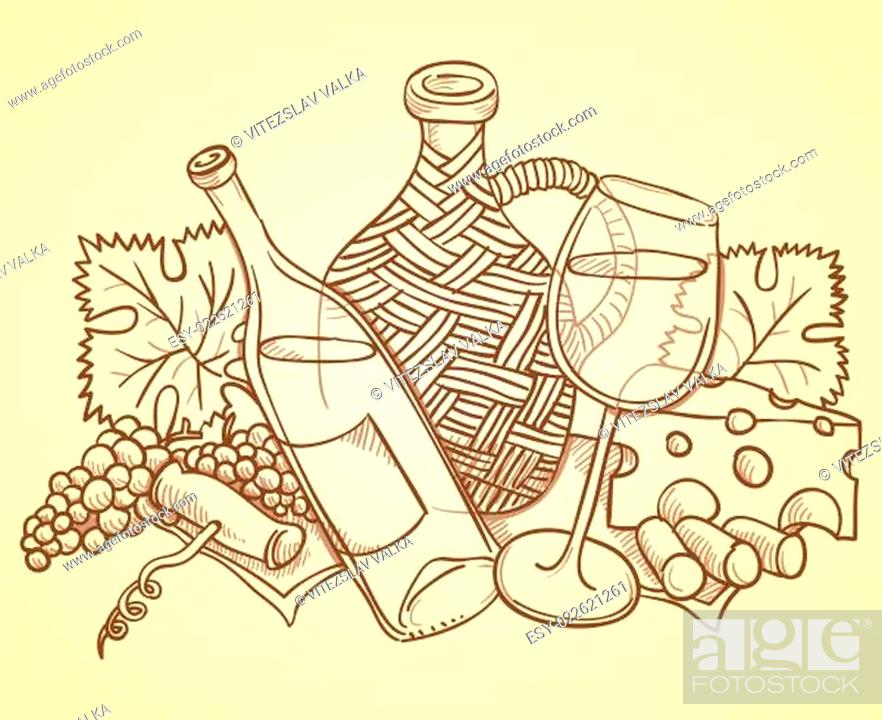 Photo de stock: Wine Themed Drawing.
