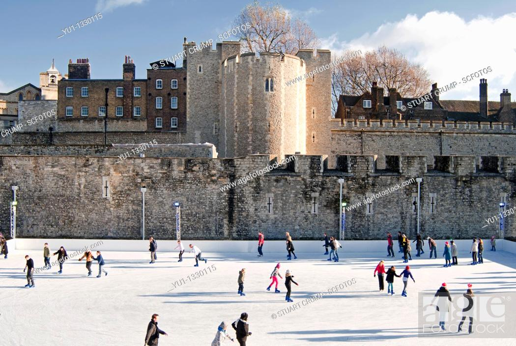Stock Photo: Temporary Ice Rink constructed for the Christmas period at the Tower of London, London England.