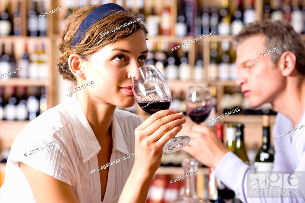 Stock Photo: Woman and man drinking wine.