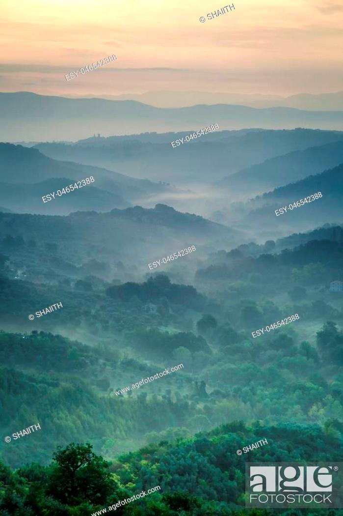 Stock Photo: Morning fog over the valley in Tuscany.