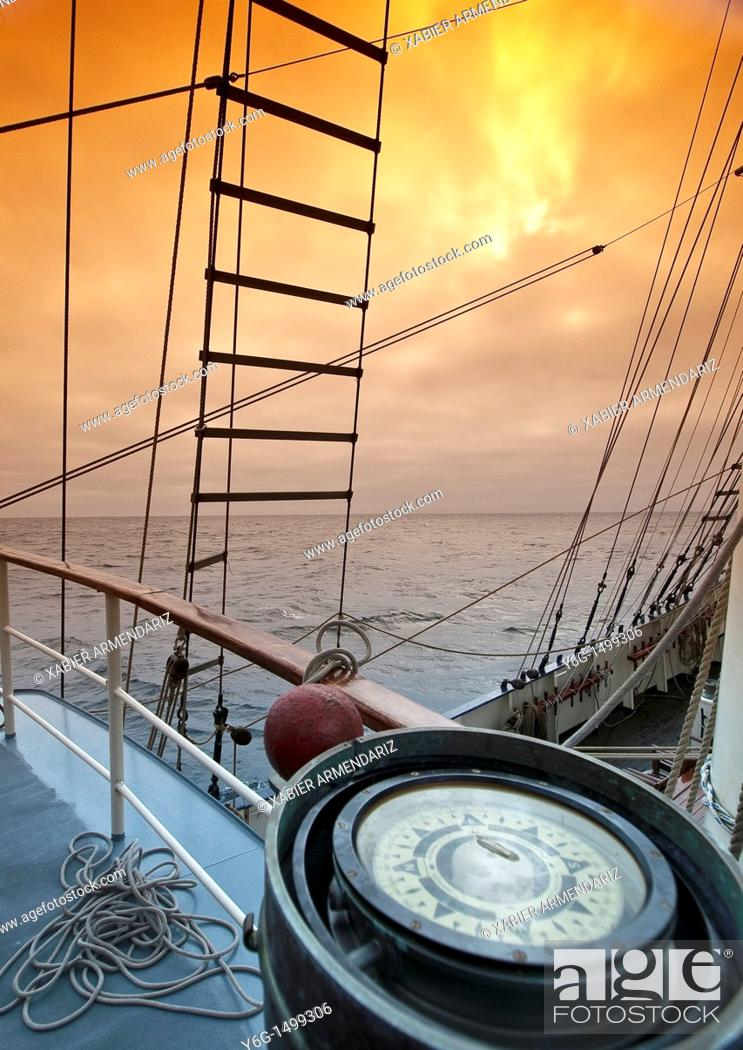 Stock Photo: Storm in the English Channel from ship compass, English Channel, United Kingdom, Europe,.