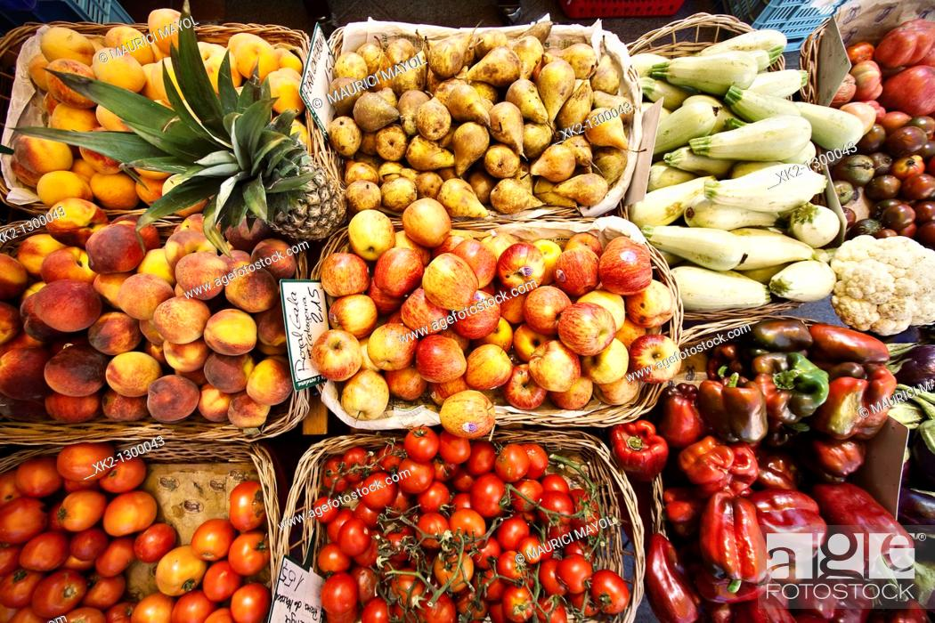 Stock Photo: Fruits and vegetables for sale in market.