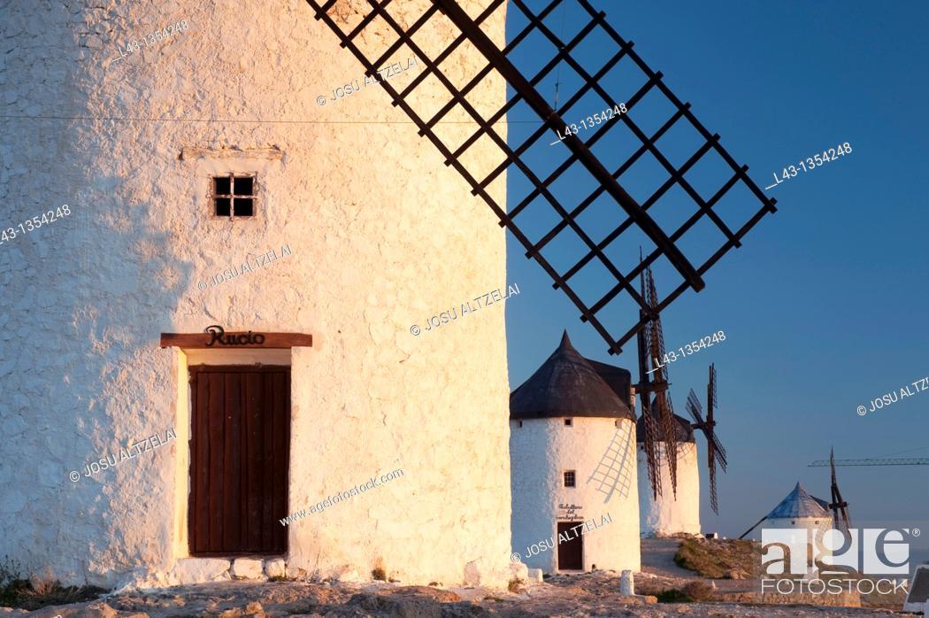 Stock Photo: Windmills of consuegra, province of Toledo, castile la mancha, spain.