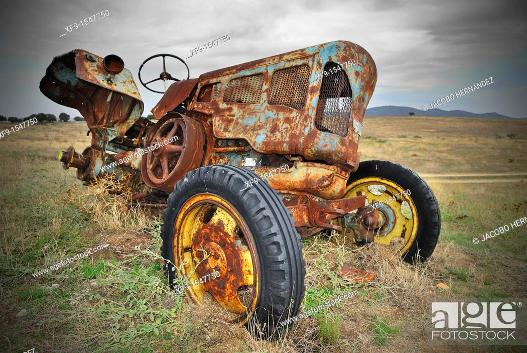 Stock Photo: Abandoned tractor.Cáceres province.Extremadura.Spain.