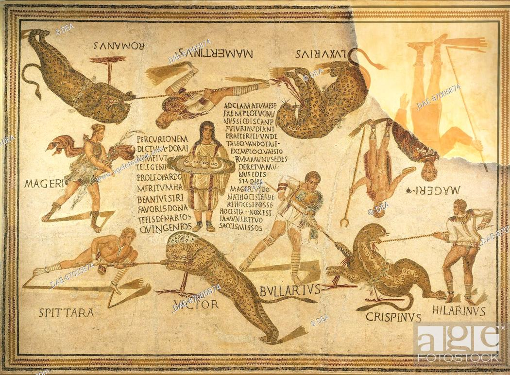 Stock Photo: Mosaic depicting the games in the amphitheater, from Susa (Sousse), Tunisia. Roman Civilization, 3rd Century.  Sousse, Musée Archéologique (Archaeological.