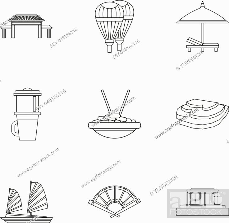 Attractions Of Vietnam Icons Set Outline Illustration Of 9 Attractions Of Vietnam Vector Icons For Stock Vector Vector And Low Budget Royalty Free Image Pic Esy 048166116 Agefotostock