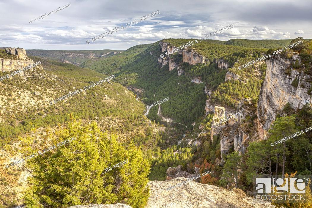 Stock Photo: Viewpoint near Zaorejas village, Natural Park of Alto Tajo, Guadalajara, Spain.
