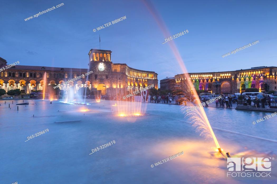 Stock Photo: Armenia, Yerevan, Republic Square, dancing fountains, dusk.