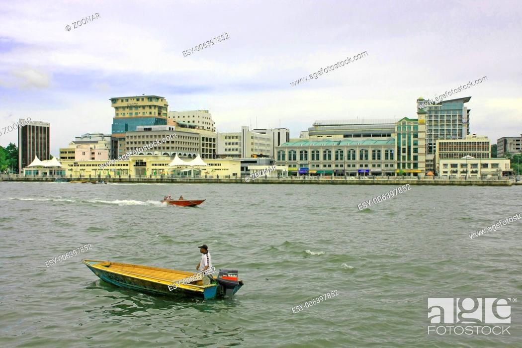 Capital skyline, Bandar Seri Begawan, Brunei, Sout, Stock