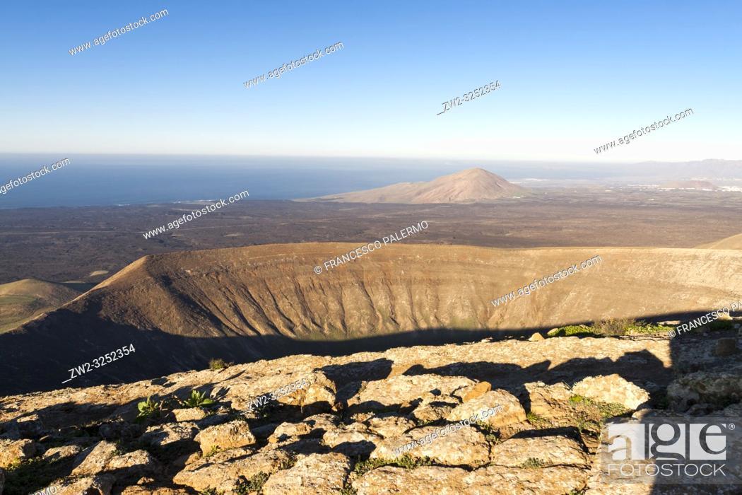 Stock Photo: Wonderful aerial views from the white caldera. Timanfaya, Lanzarote. Spain.