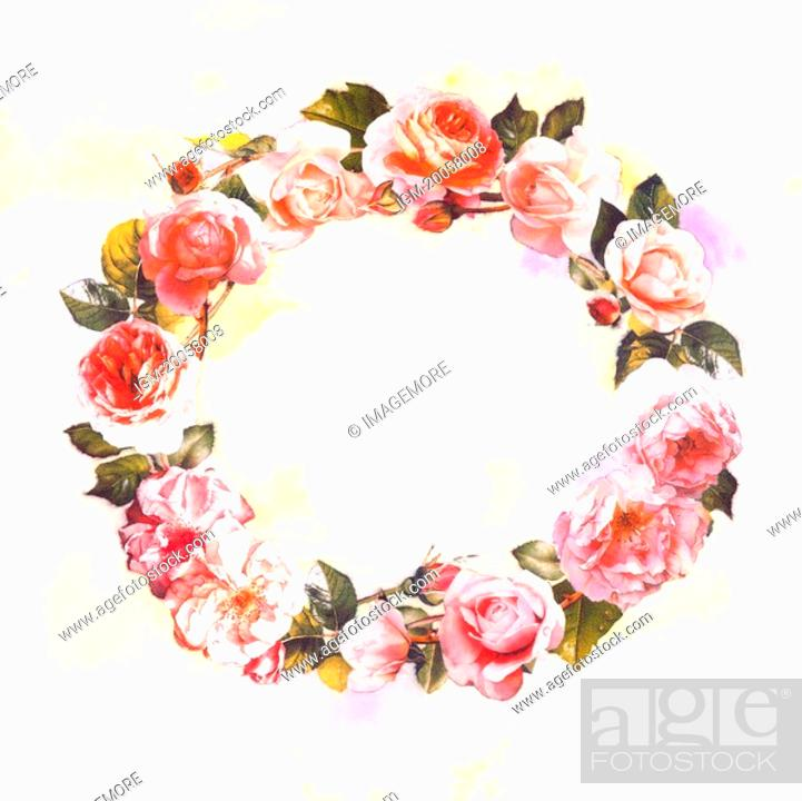 Stock Photo: Flower, Watercolor painting of a wreath.