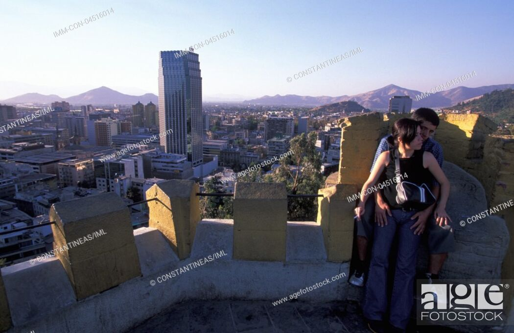 Stock Photo: View of the city from Cerra Santa Lucia Santiago, Chile, South America.