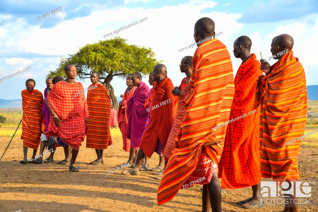 Photo de stock: dancing masai tribesmen in masai mara national park, kenia.