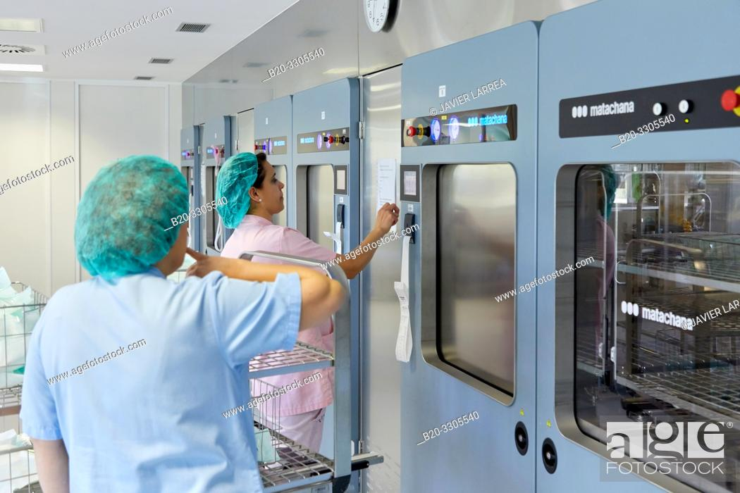 Stock Photo: Cleaning of surgical material, Sterilization, Autoclave Cleaning, Hospital Donostia, San Sebastian, Gipuzkoa, Basque Country, Spain.