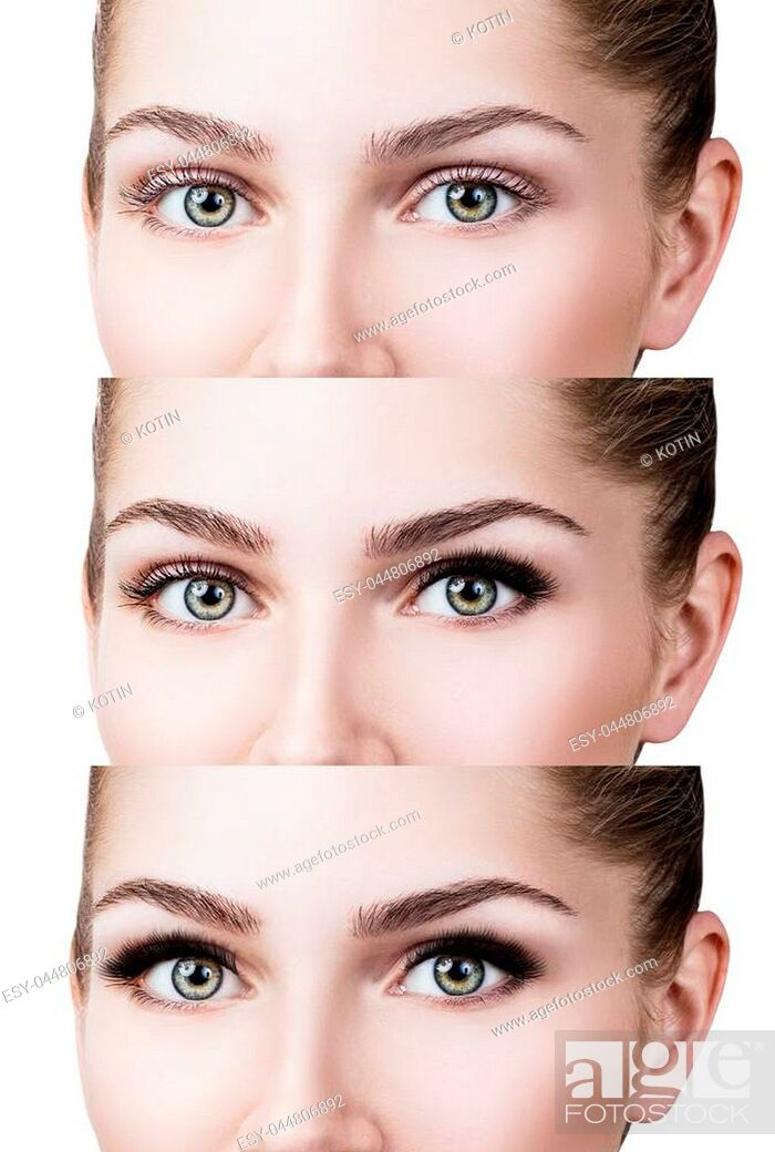 Imagen: Woman's face close-up before and after bright makeup. Over white background.