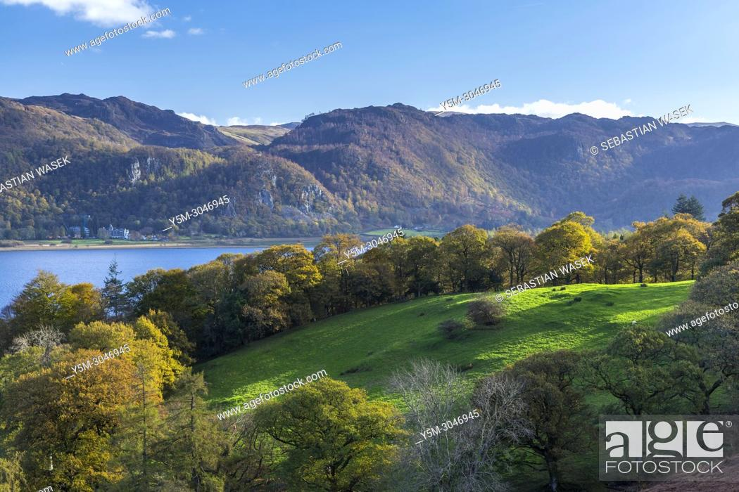 Stock Photo: View across Derwent Water towards east, Lake District National Park, Cumbria, England, United Kingdom, Europe.
