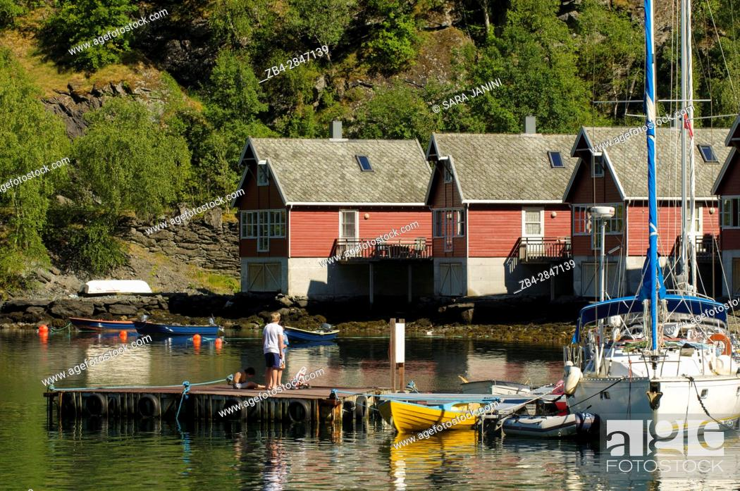 Stock Photo: Flåm Harbour, Flåmsdalen, at the inner end of the Aurlandsfjorden, a branch of Sognefjorden, Sogn og Fjordane, Fjords, Norway.