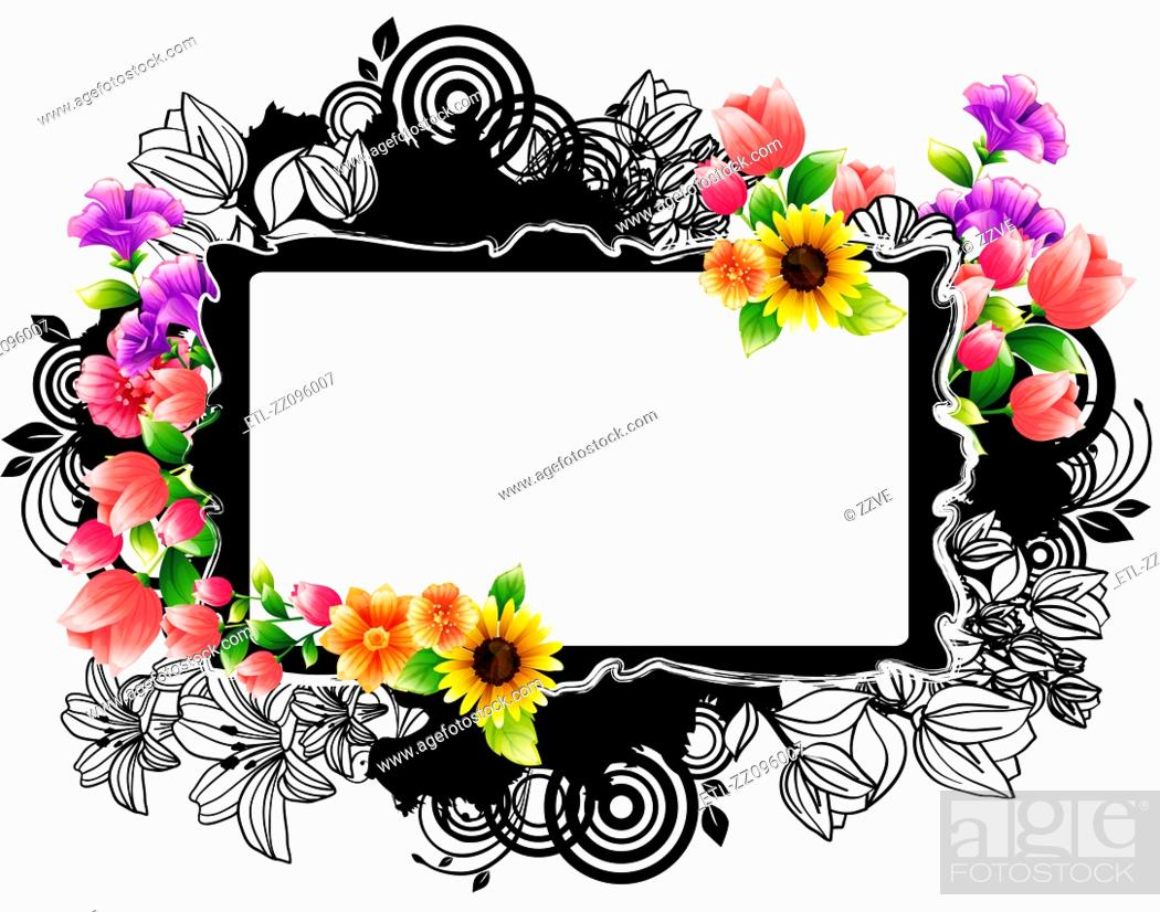 Stock Photo: Rectangular frame with flora design.