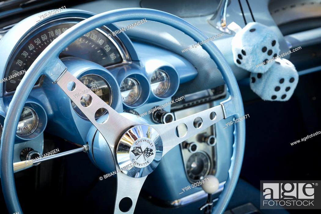 Stock Photo: Steering wheel of a 1959 Chevrolet Corvette Stingray on display at 'Cars on 5th' autoshow, Naples, Florida, USA.