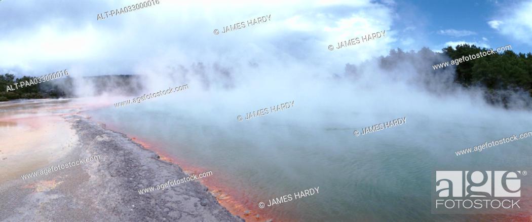 Stock Photo: New Zealand, hot spring, panoramic view.