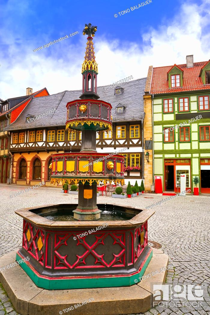Imagen: Wernigerode fountain in Harz Germany at Saxony Anhalt.