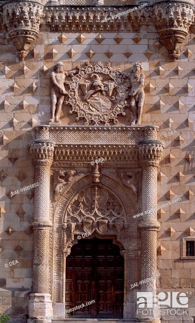 Stock Photo: Doorway with the emblem of the Mendoza family, the facade of the Infantado Palace, Guadalajara, Castilla-La Mancha. Detail. Spain, 15th-16th century.