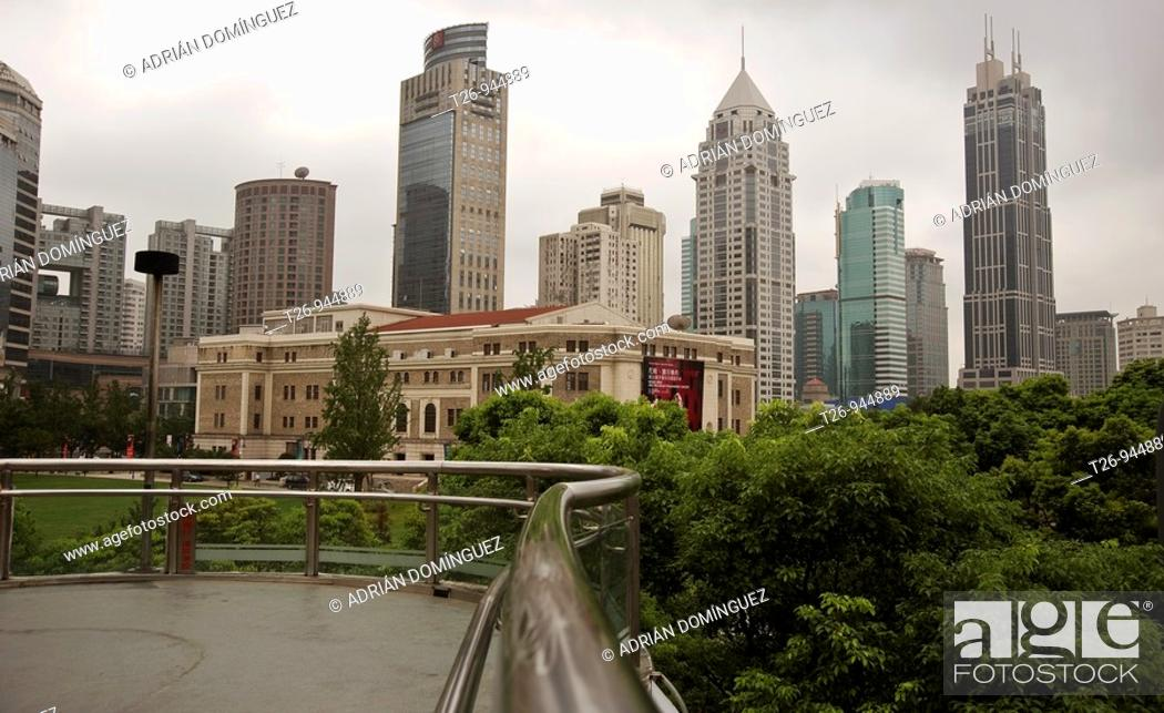 Stock Photo: Panoramic of the skyscrapers of Shanghai from a bridge.