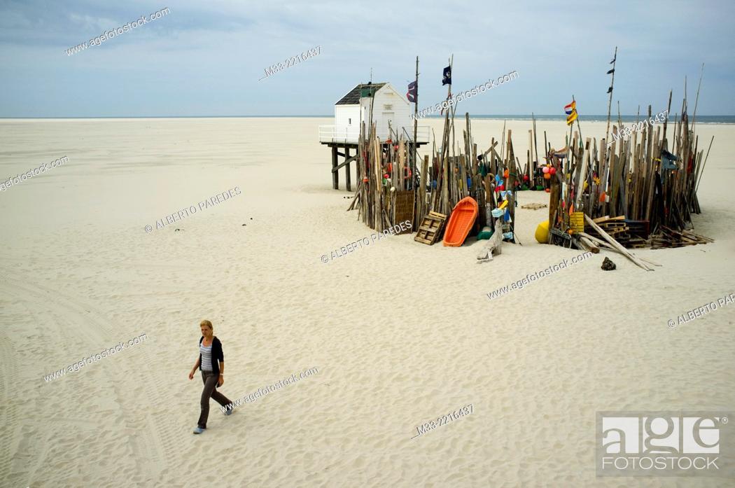Stock Photo: Vliehors beach shelter, Vlieland Island, Friesland province (Fryslan), Netherlands.