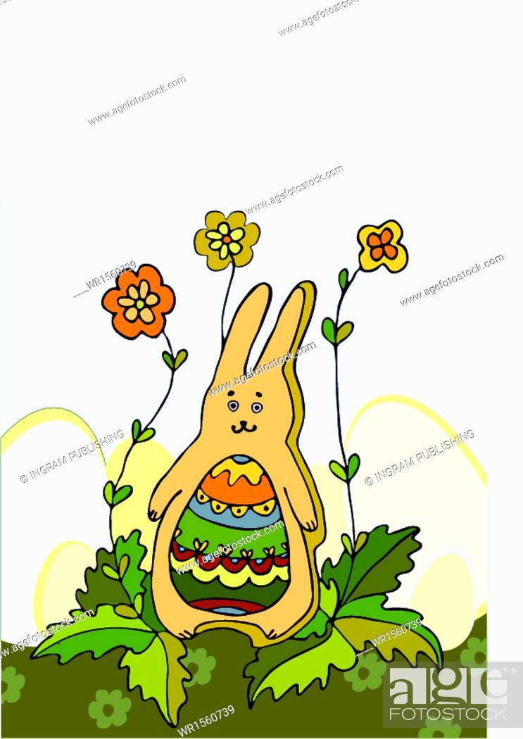 Stock Vector: People, Summer, Holiday, Happy, Nature, Child, Kid, Girl, Little, Flower, Spring, Meadow, Graphic, Traditional, Art, Design, Illustration, Image, Beautiful, Season, Day, Ear, Easter, Egg, Decorative, Decoration, Cute, Pretty, Nice, Cheerful