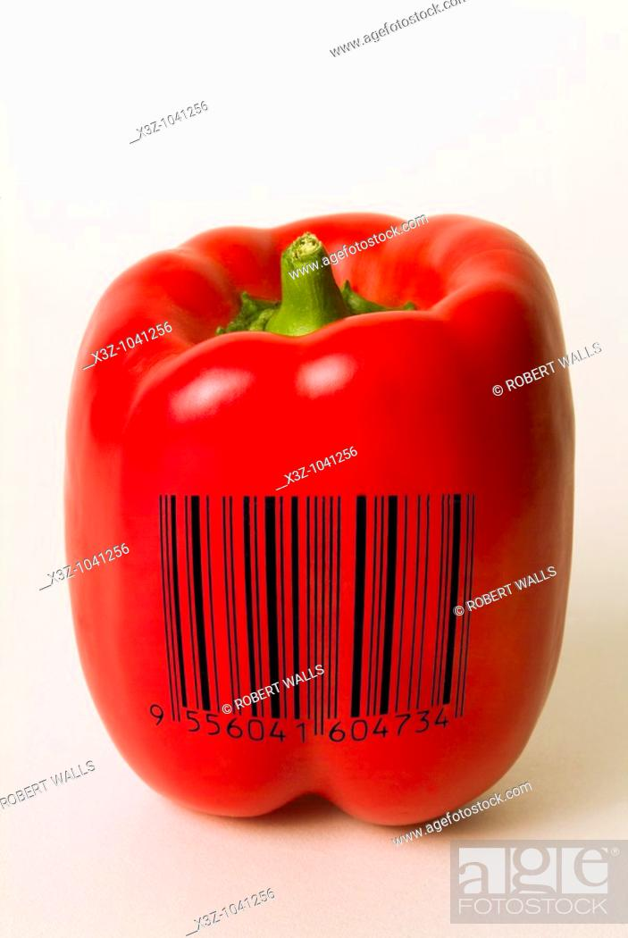 Stock Photo: Red bell pepper with barcode superimposed to illustrate genetically modified food.