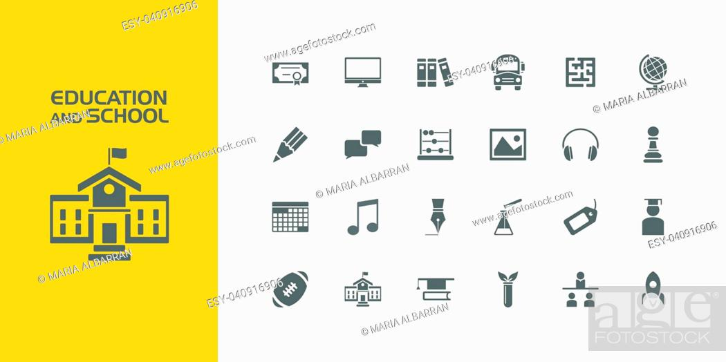 Vector: Group of twenty education and school icons.