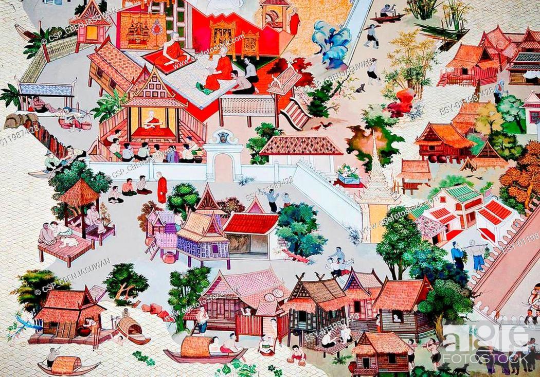 Stock Photo: BANGKOK , THAILAND - MAY 19 : Ancient painting on monastery wall in Buddhist temple on May 19, 2012 in Bangkok, Thailand.