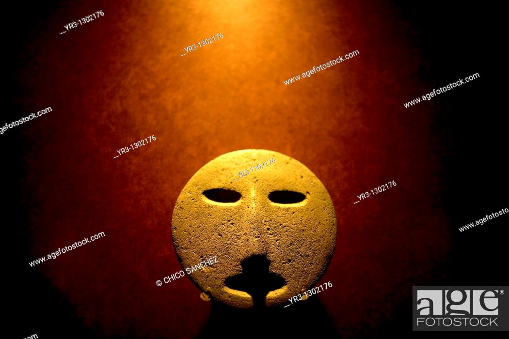 Stock Photo: A stone representing the sun is displayed in the National Museum of Anthropology in Mexico City, September 20, 2008  The National Museum of Anthropology and.